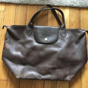 Longchamp leather Le Pliage tote